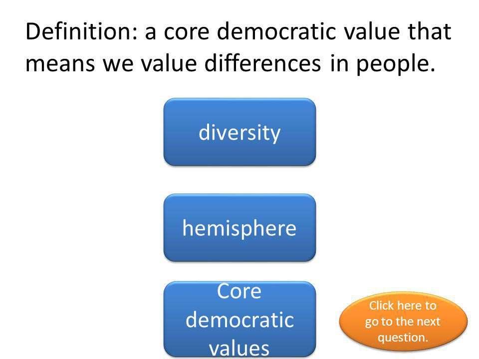 Definition: a core democratic value that means we value differences in people.