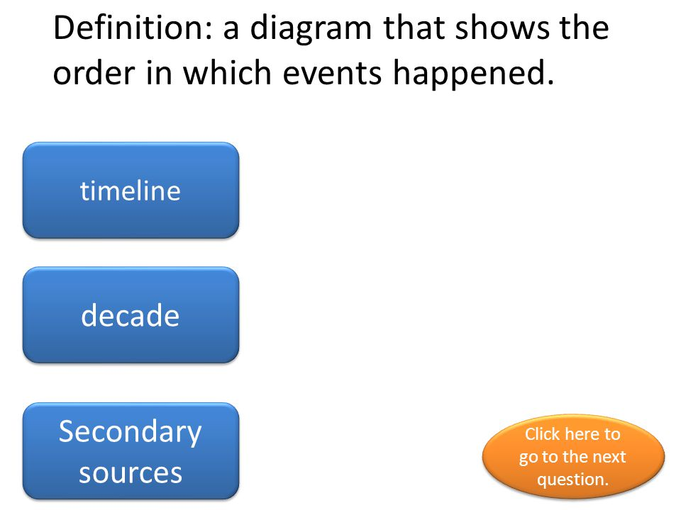 Definition: a ten year period history Decade timeline Click here to go to the next question.