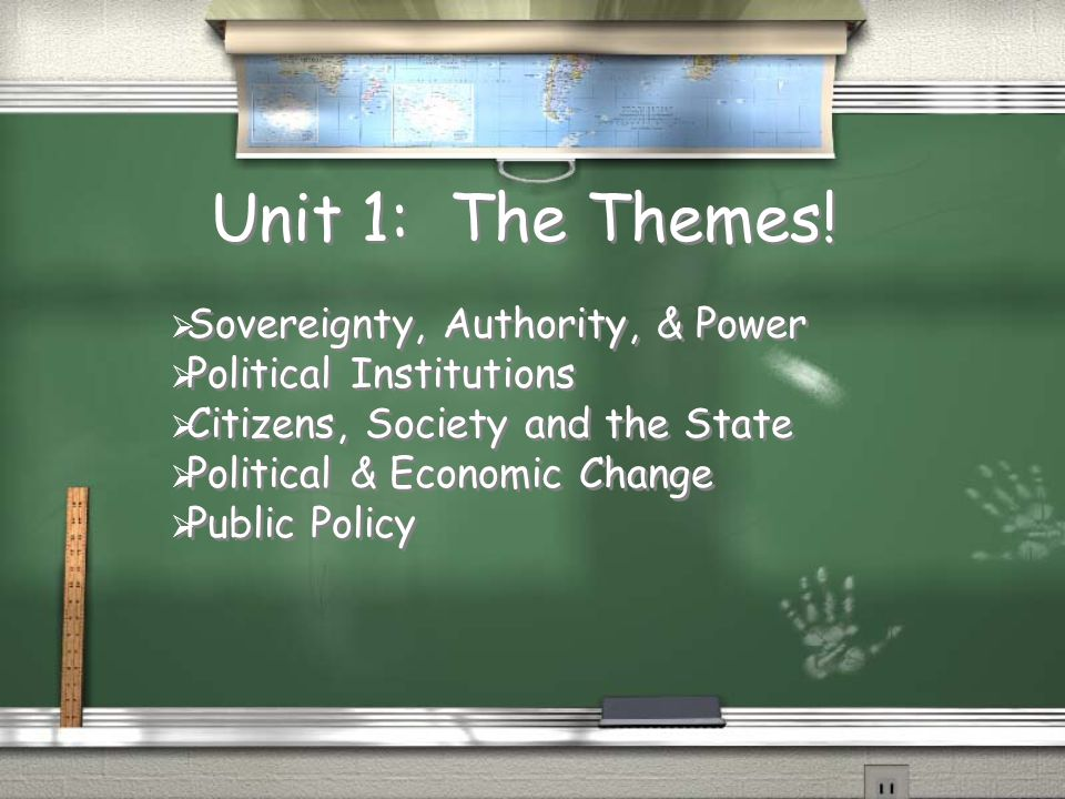 Unit 1: The Themes!  Sovereignty, Authority, & Power  Political Institutions  Citizens, Society and the State  Political & Economic Change  Publi