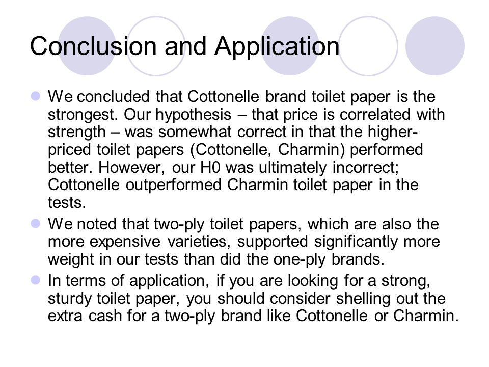 Conclusion and Application We concluded that Cottonelle brand toilet paper is the strongest. Our hypothesis – that price is correlated with strength –