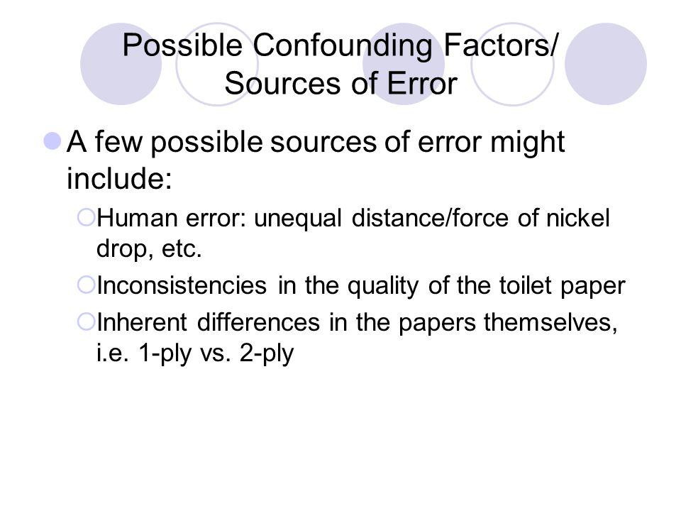 Possible Confounding Factors/ Sources of Error A few possible sources of error might include:  Human error: unequal distance/force of nickel drop, et