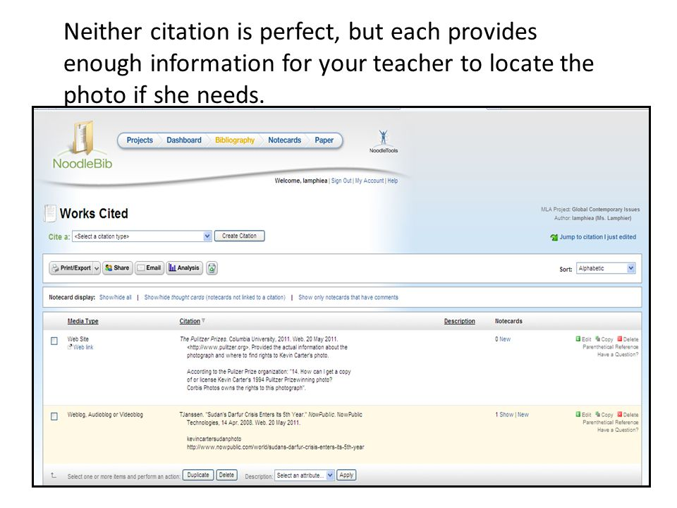 Neither citation is perfect, but each provides enough information for your teacher to locate the photo if she needs.