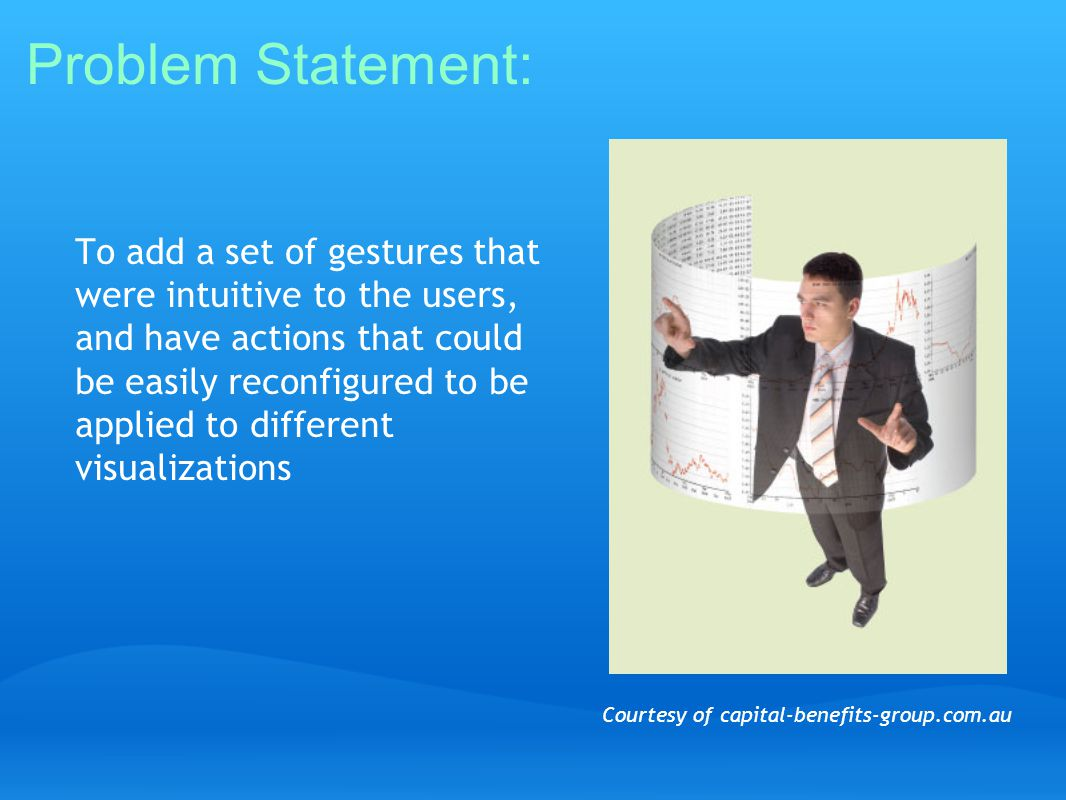To add a set of gestures that were intuitive to the users, and have actions that could be easily reconfigured to be applied to different visualizations Problem Statement: Courtesy of capital-benefits-group.com.au