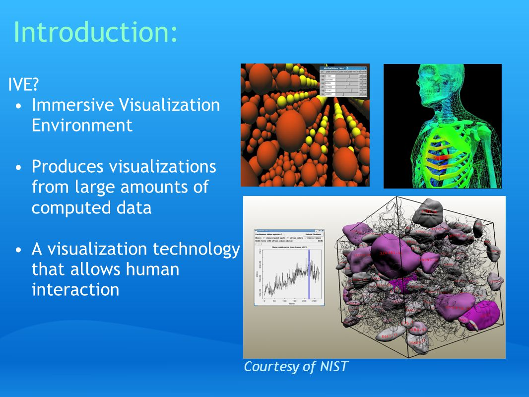 Introduction: IVE? Immersive Visualization Environment Produces visualizations from large amounts of computed data A visualization technology that all
