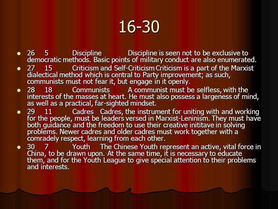 16-30 265DisciplineDiscipline is seen not to be exclusive to democratic methods.