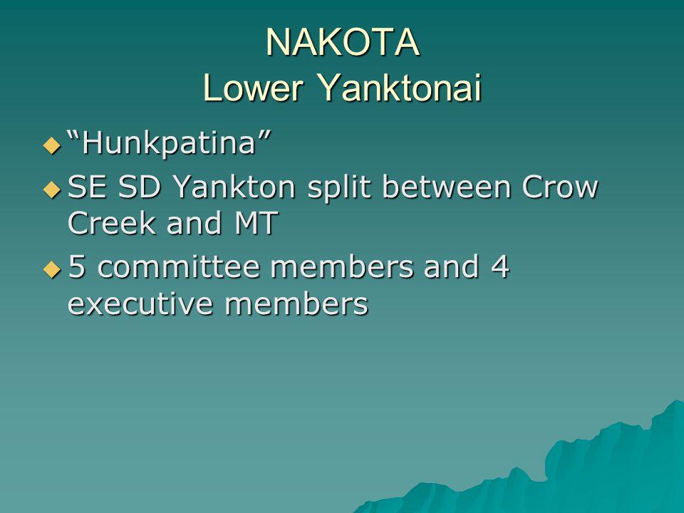 NAKOTA Lower Yanktonai  Hunkpatina  SE SD Yankton split between Crow Creek and MT  5 committee members and 4 executive members