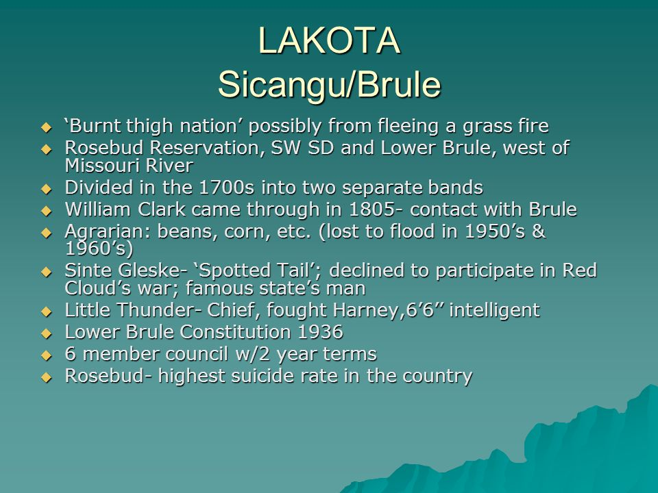 LAKOTA Sicangu/Brule  'Burnt thigh nation' possibly from fleeing a grass fire  Rosebud Reservation, SW SD and Lower Brule, west of Missouri River 