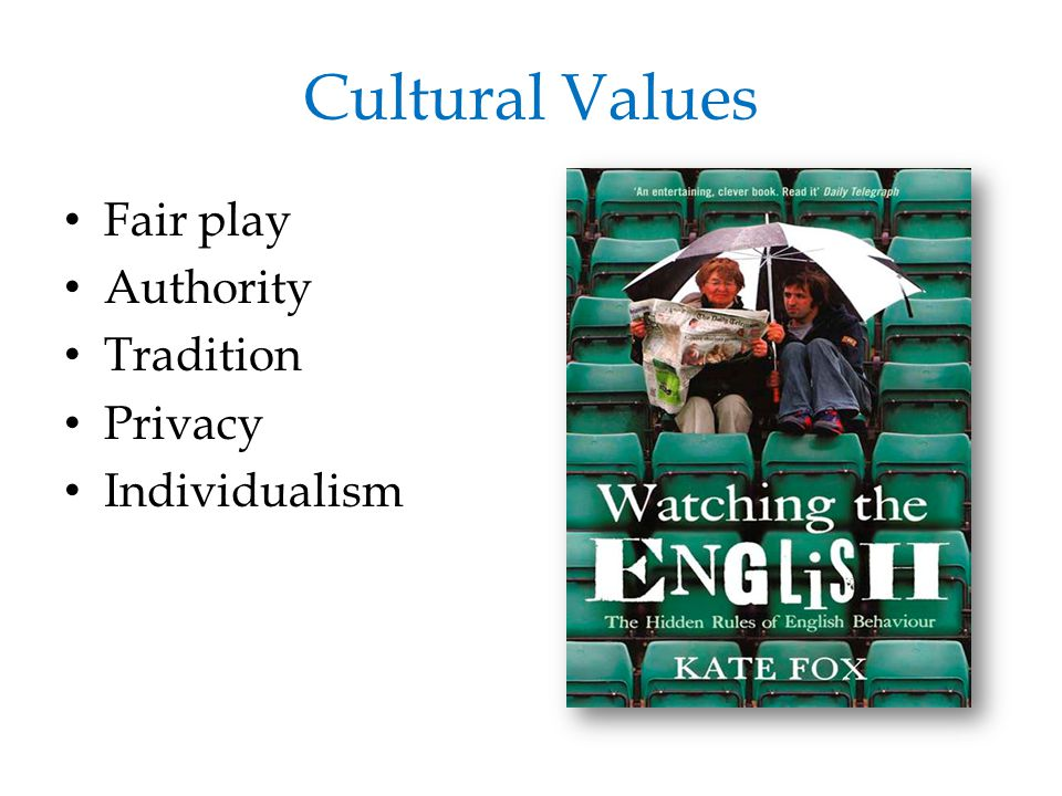 Cultural Values Fair play Authority Tradition Privacy Individualism
