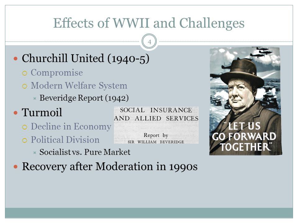 Effects of WWII and Challenges Churchill United (1940-5)  Compromise  Modern Welfare System  Beveridge Report (1942) Turmoil  Decline in Economy 