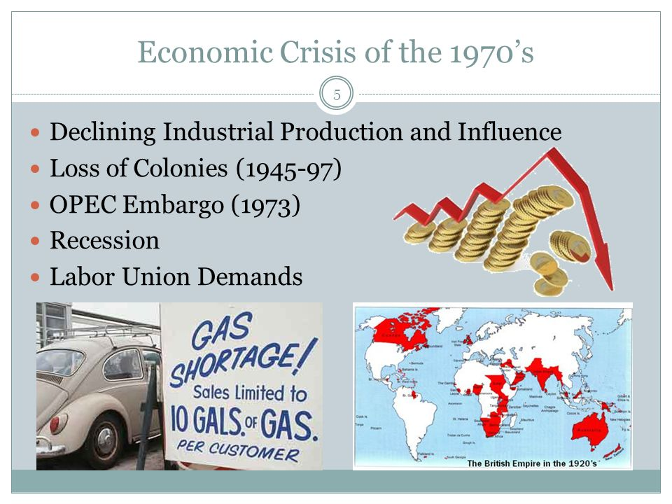 Economic Crisis of the 1970's Declining Industrial Production and Influence Loss of Colonies (1945-97) OPEC Embargo (1973) Recession Labor Union Demands 5