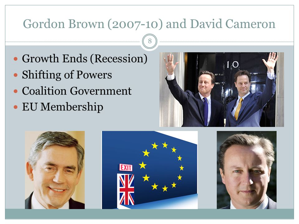 Gordon Brown (2007-10) and David Cameron Growth Ends (Recession) Shifting of Powers Coalition Government EU Membership 8