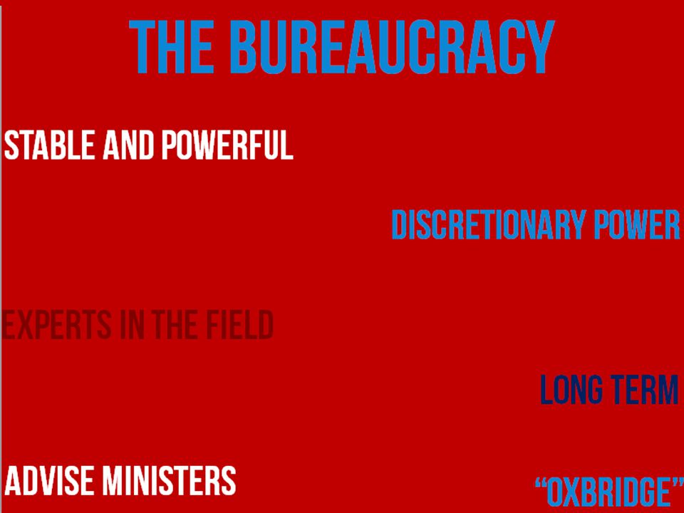 THE BUREAUCRAC Y Stable and powerful Discretionary power Experts in the field Long term Advise ministers Oxbridge