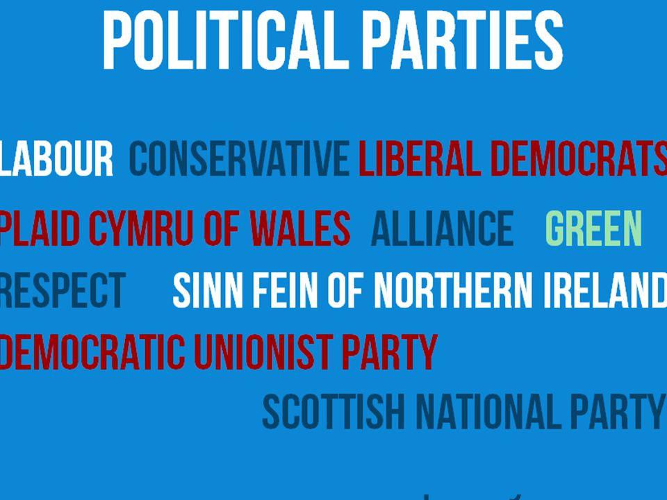 Political parties conservativeLiberal democrats labour Sinn Fein of Northern Ireland Plaid Cymru of Wales respect allianceGreen Democratic unionist pa