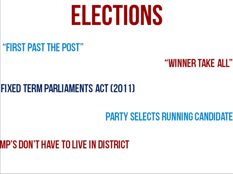 First Past the Post elections Winner Take All Fixed term parliaments act (2011) Party selects running candidate MP's don't have to live in district