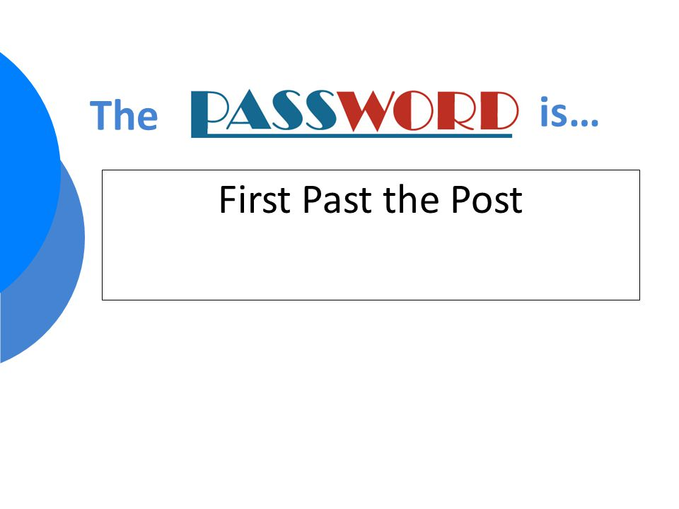 First Past the Post The is…
