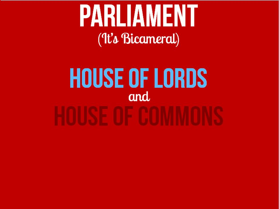 PARLIAMENT (It's Bicameral) House of Lords and HOUSE OF COMMONS