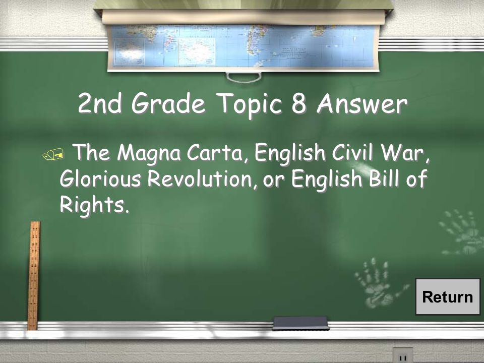 2nd Grade Topic 8 Question / What were two of the four Pre- Modern events associated with the transition of power to Parliament