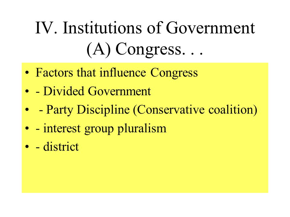 IV. Institutions of Government (A) Congress Describe demographics of Congress Explain incumbency advantages Define gerrymandering / ID Supreme Court L