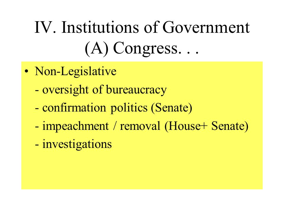 IV.Institutions of Government (A) Congress...