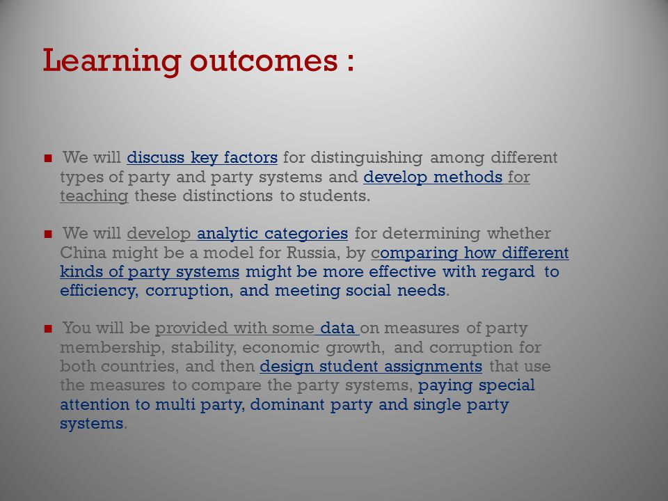 Learning outcomes : We will discuss key factors for distinguishing among different types of party and party systems and develop methods for teaching these distinctions to students.