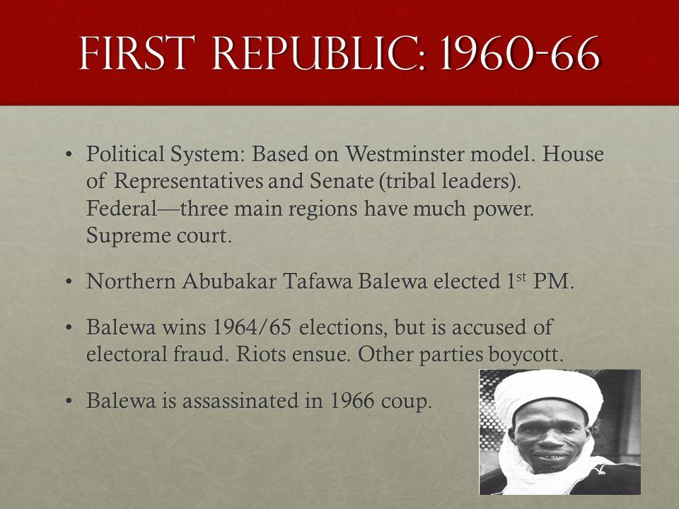 Military Rule: Ironsi, 1966 Major General Johnson Aguyi-Ironsi, a Christian Igbo, comes to power.Major General Johnson Aguyi-Ironsi, a Christian Igbo, comes to power.