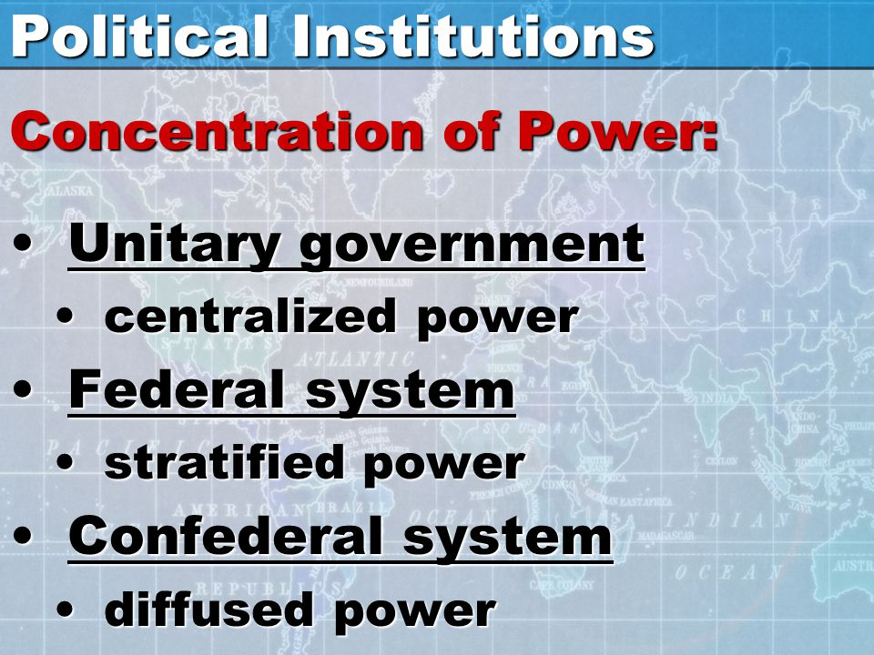 Political Institutions Concentration of Power: Unitary governmentUnitary government centralized powercentralized power Federal systemFederal system st