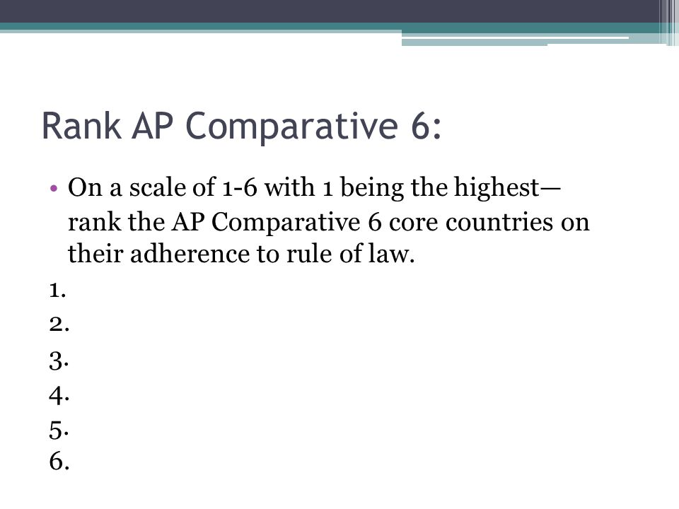 Rank AP Comparative 6: On a scale of 1-6 with 1 being the highest— rank the AP Comparative 6 core countries on their adherence to rule of law.