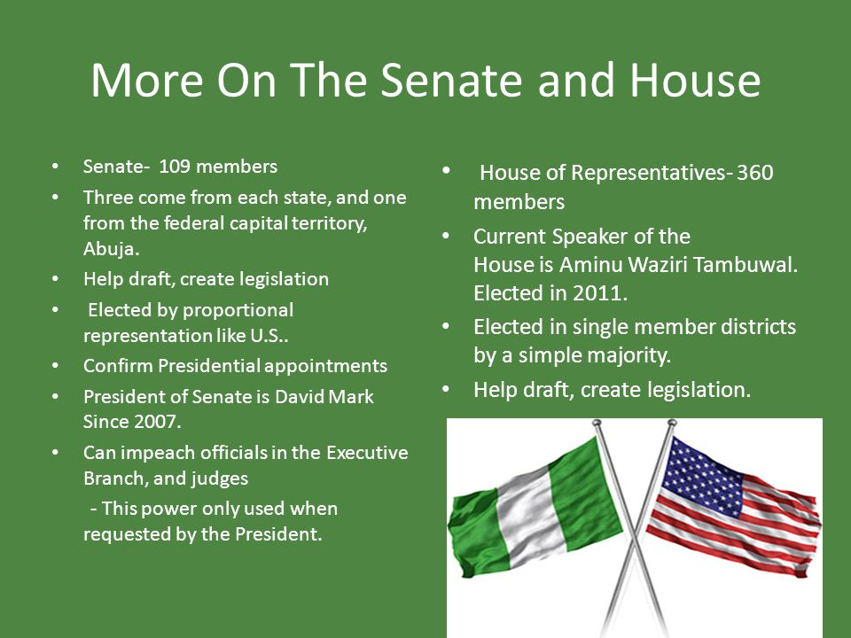 More On The Senate and House Senate- 109 members Three come from each state, and one from the federal capital territory, Abuja. Help draft, create leg