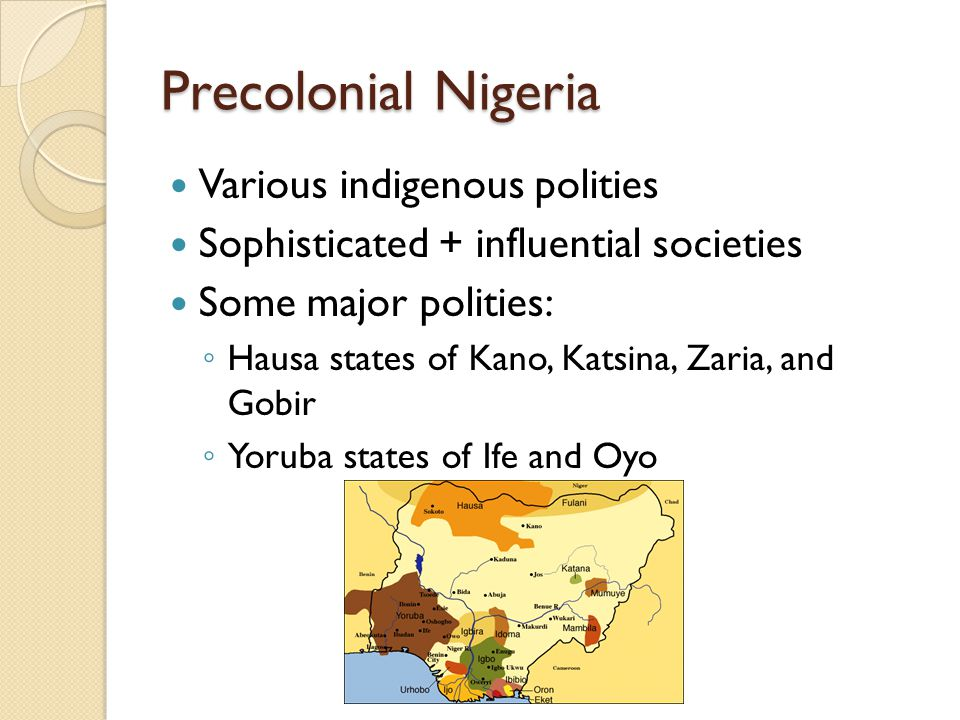 Colonial Nigeria 1951: Macpherson Constitution: Greater autonomy, central government with Council of Ministers + House of Representatives ◦ Separate House of Chiefs for the North, to reflect tribal authority 1954: Lyttleton Constitution: More revisions, paved way towards independence