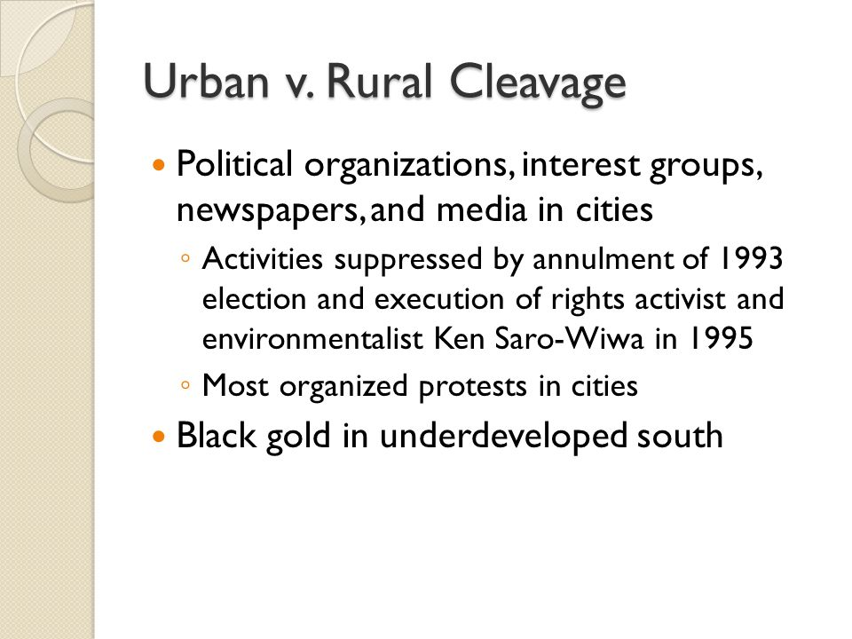 Urban v. Rural Cleavage Political organizations, interest groups, newspapers, and media in cities ◦ Activities suppressed by annulment of 1993 electio