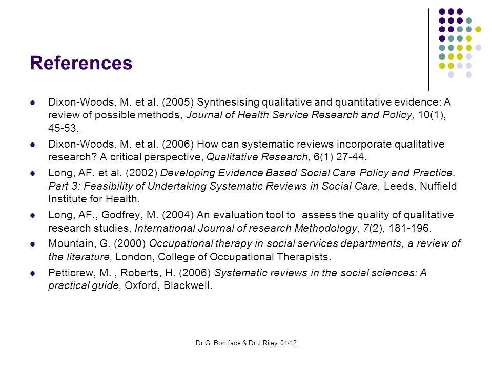 References Dixon-Woods, M. et al.