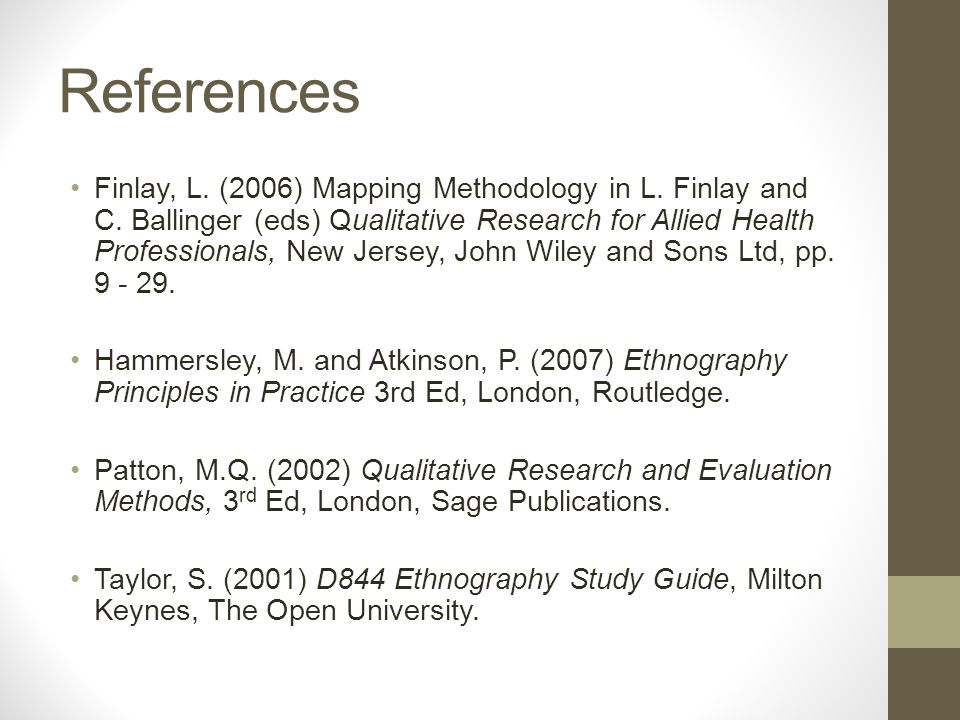 References Finlay, L. (2006) Mapping Methodology in L.
