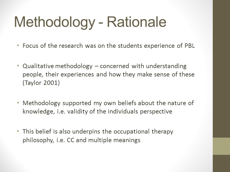 Methodology - Rationale Focus of the research was on the students experience of PBL Qualitative methodology – concerned with understanding people, their experiences and how they make sense of these (Taylor 2001) Methodology supported my own beliefs about the nature of knowledge, i.e.