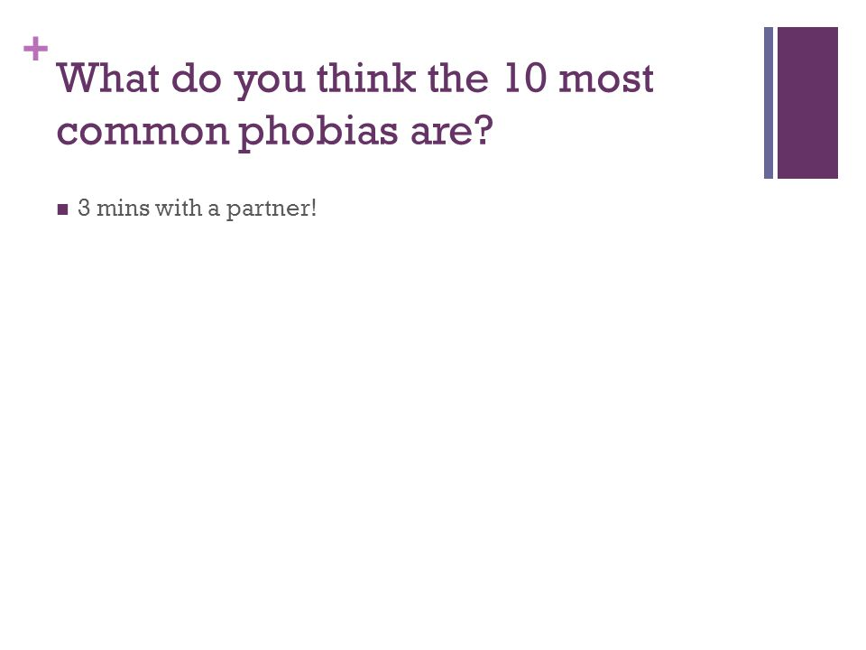 + What do you think the 10 most common phobias are.