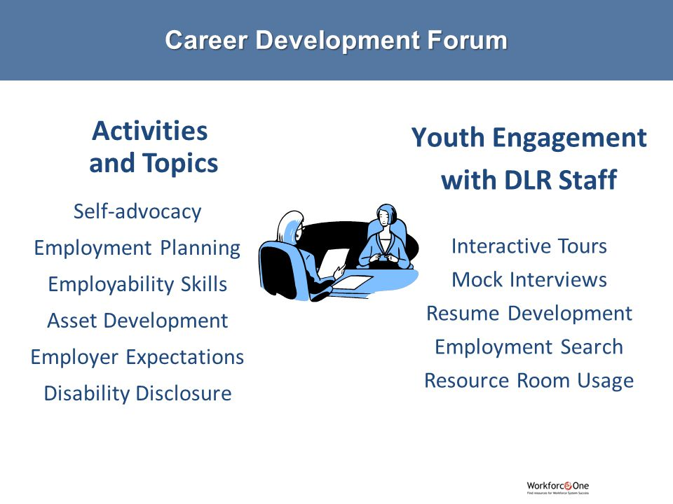 # Activities and Topics Self-advocacy Employment Planning Employability Skills Asset Development Employer Expectations Disability Disclosure Youth Engagement with DLR Staff Interactive Tours Mock Interviews Resume Development Employment Search Resource Room Usage