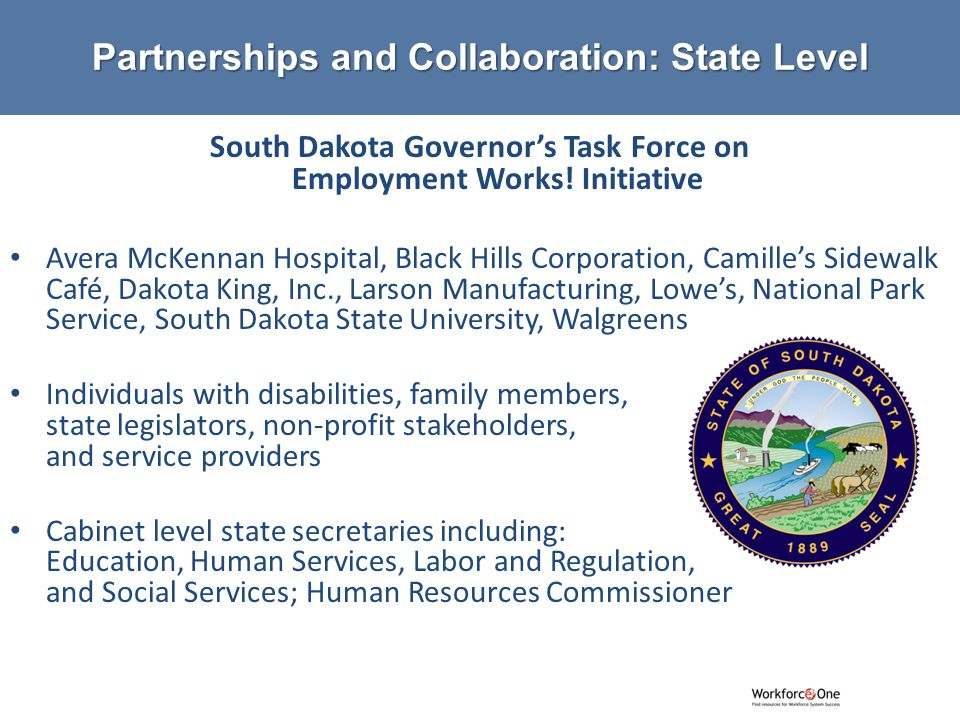# South Dakota Governor's Task Force on Employment Works.