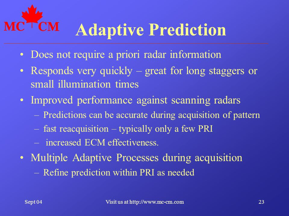 Sept 0423Visit us at http://www.mc-cm.com Adaptive Prediction Does not require a priori radar information Responds very quickly – great for long stagg