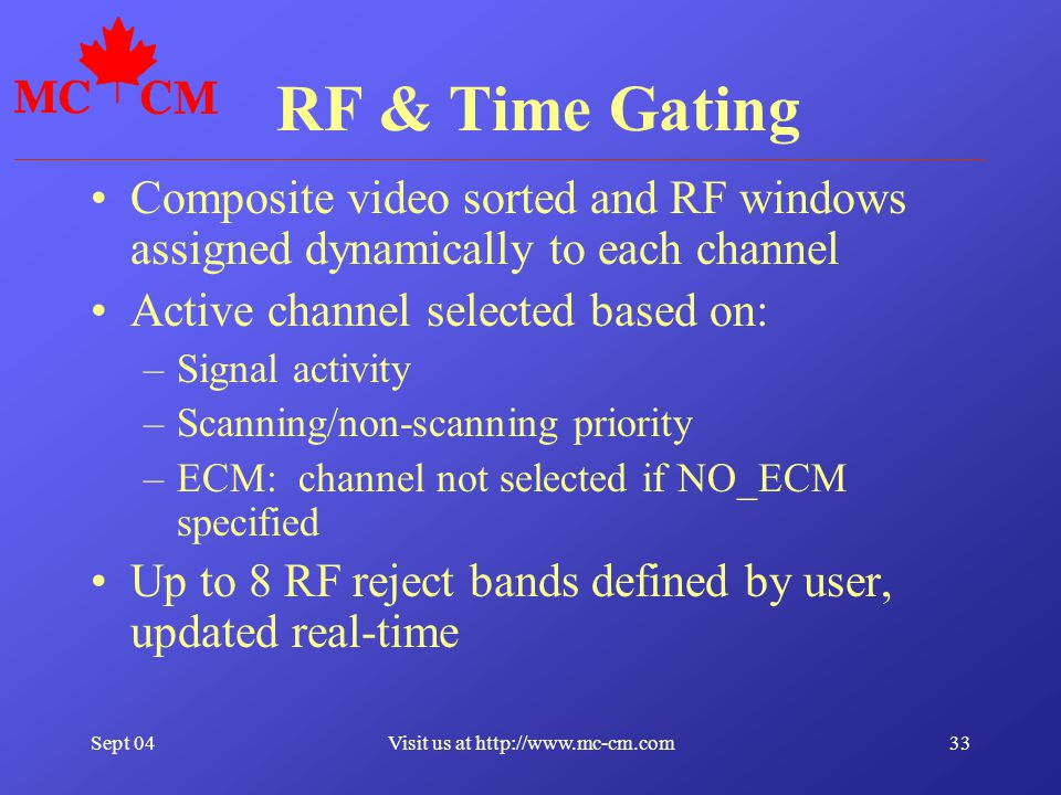 Sept 0433Visit us at http://www.mc-cm.com RF & Time Gating Composite video sorted and RF windows assigned dynamically to each channel Active channel s