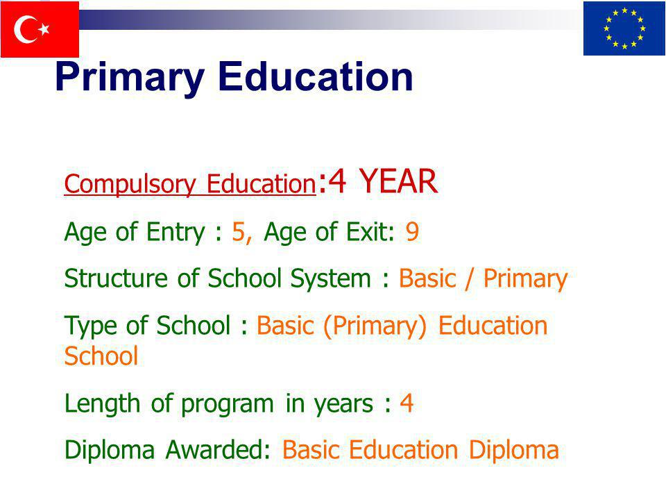 Primary Education Compulsory Education :4 YEAR Age of Entry : 5,Age of Exit: 9 Structure of School System : Basic / Primary Type of School : Basic (Pr
