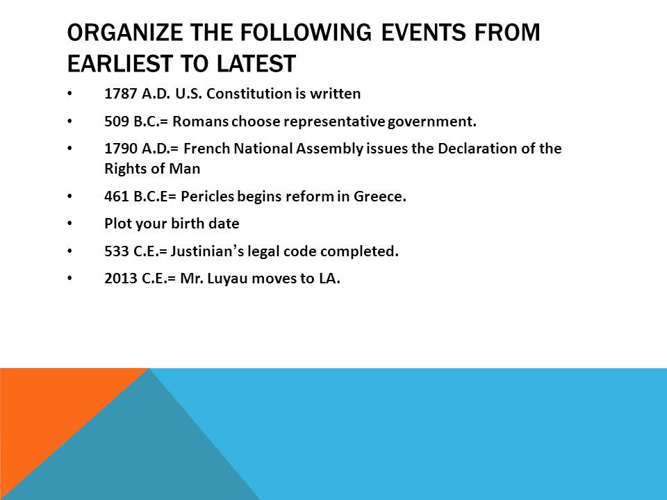 ORGANIZE THE FOLLOWING EVENTS FROM EARLIEST TO LATEST 1787 A.D. U.S. Constitution is written 509 B.C.= Romans choose representative government. 1790 A