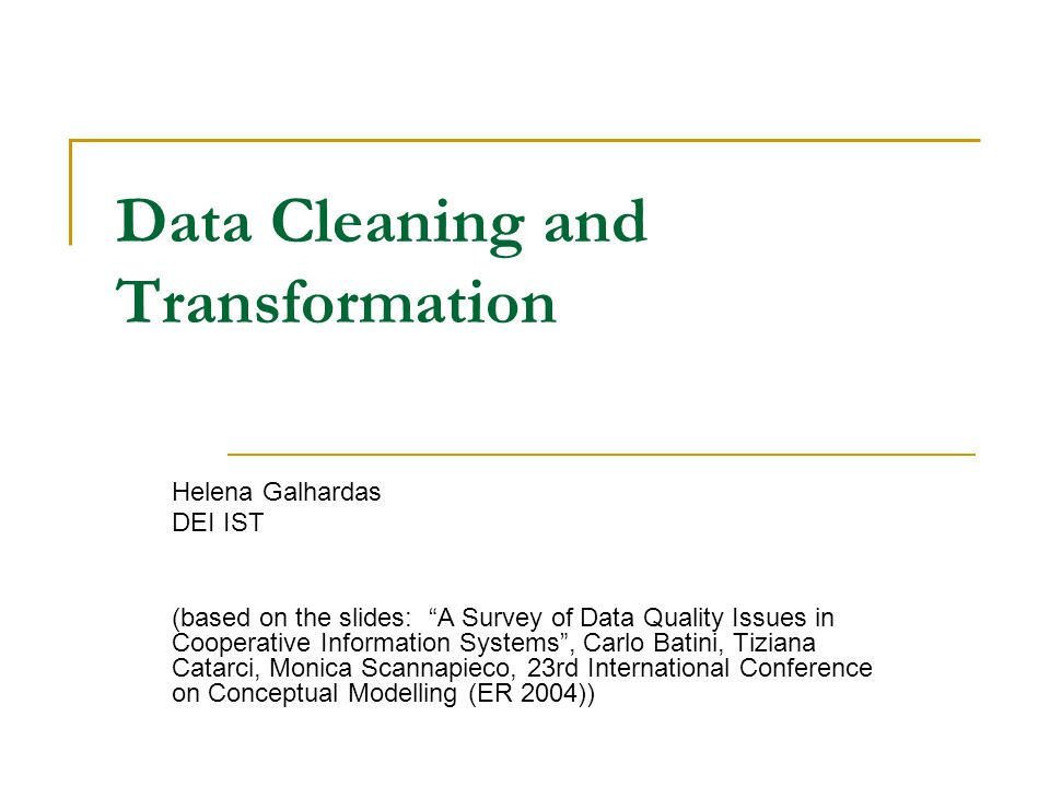 Data correction/data cleaning/data scrubbing Given one/two/n tables or groups of tables, and a set of identified errors in records wrt to given qualities, generates probable corrections and correct the records, in such a way that new records respect the qualities.