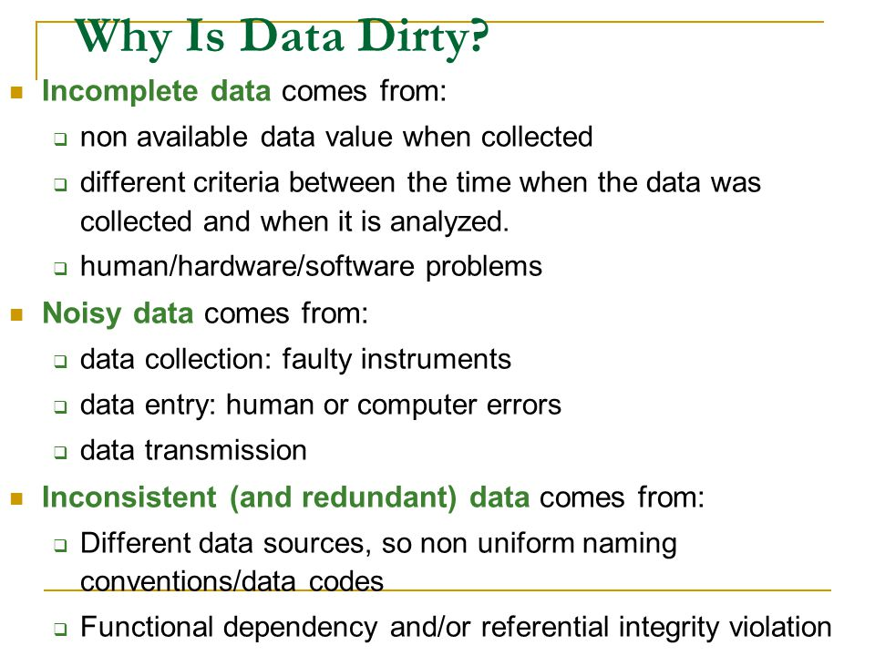Data quality problems (1/3) Schema level data quality problems prevented with better schema design, schema translation and integration.