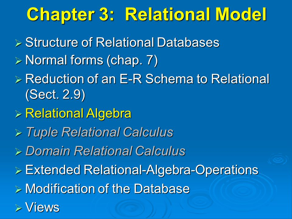 Set Difference – Example Relations r, s: r – s : AB  121121 AB  2323 r s AB  1111