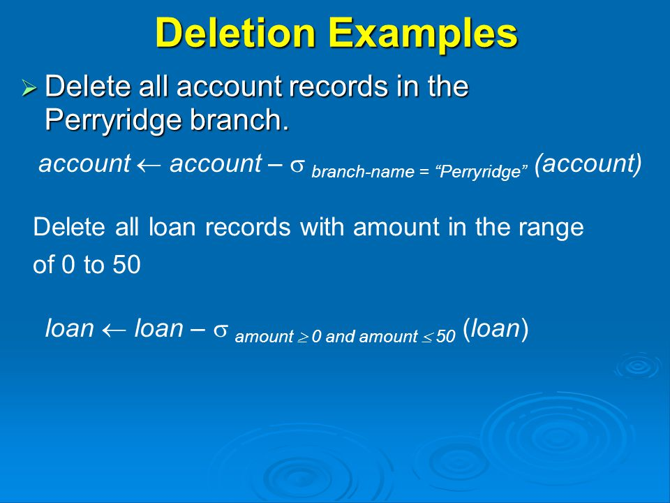 Deletion Examples  Delete all account records in the Perryridge branch.