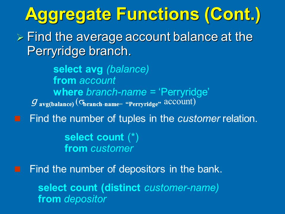 Aggregate Functions (Cont.)  Find the average account balance at the Perryridge branch.