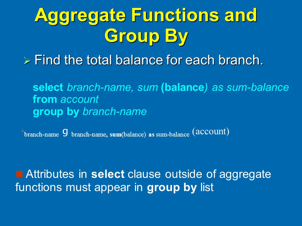 Aggregate Functions and Group By  Find the total balance for each branch.