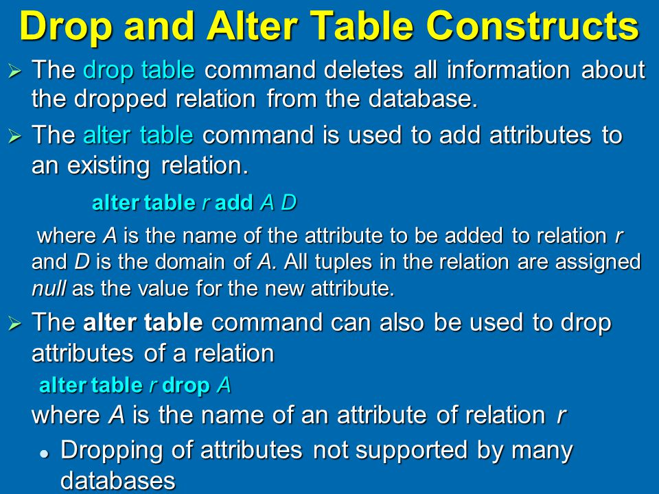 Drop and Alter Table Constructs  The drop table command deletes all information about the dropped relation from the database.