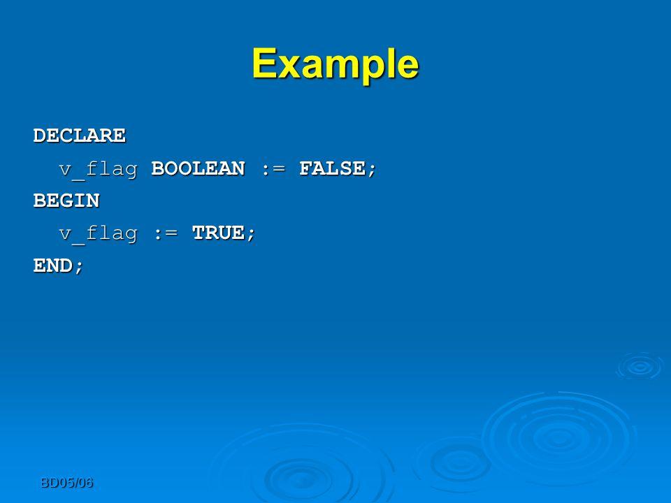 BD05/06 Example DECLARE v_flag BOOLEAN := FALSE; BEGIN v_flag := TRUE; END;