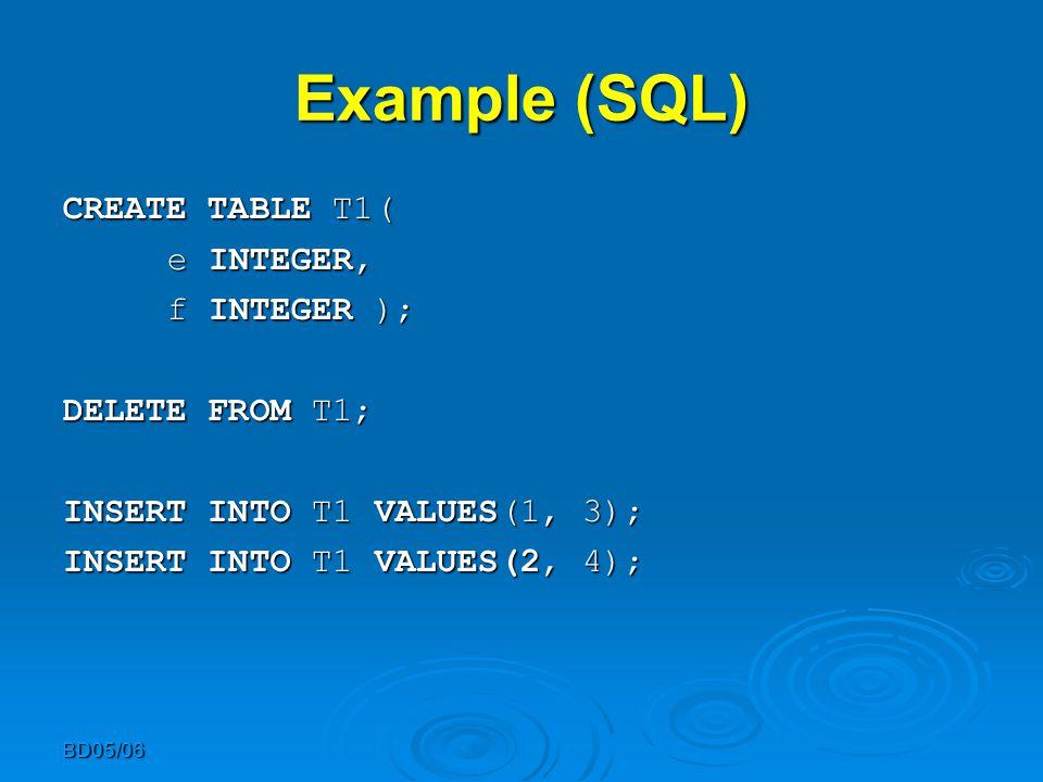 BD05/06 Example (SQL) CREATE TABLE T1( CREATE TABLE T1( e INTEGER, e INTEGER, f INTEGER ); DELETE FROM T1; INSERT INTO T1 VALUES(1, 3); INSERT INTO T1 VALUES(2, 4);
