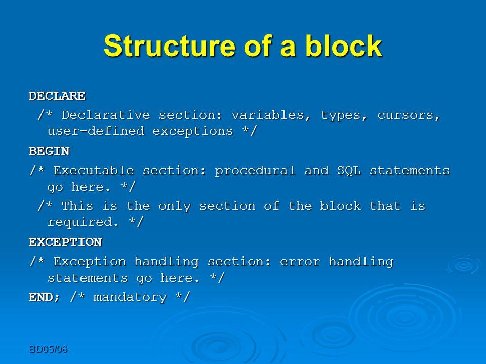 BD05/06 Example DECLARE DECLARE i NUMBER := 1; i NUMBER := 1;BEGIN LOOP LOOP INSERT INTO T1 VALUES (i,i); INSERT INTO T1 VALUES (i,i); i := i+1; i := i+1; EXIT WHEN i>100; EXIT WHEN i>100; END LOOP; END LOOP;END;.run;